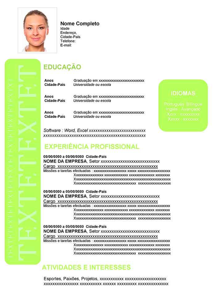 curriculum vitae para preencher no word brasileiro
