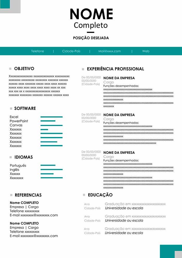 modelo de curriculo em pdf